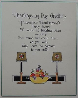 Vintage Happy Thanksgiving Day Greeting Card Art Deco Fruit Lamps Poem