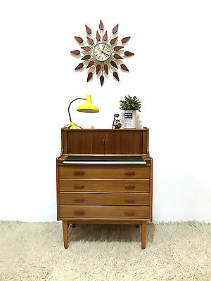 60S Beautiful Mid Century Danish Inspired Small Bureau Chest Of Drawers