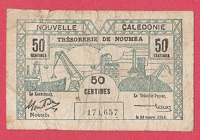 1943 New Caledonia 50 Centime Note
