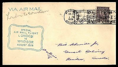 Windsor Ont Aug 29 1928 Special Air Mail Flight Cover From London