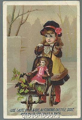 Victorian Trade Card for Lautz Bros. Soaps with Girl Pushing Doll Carriage
