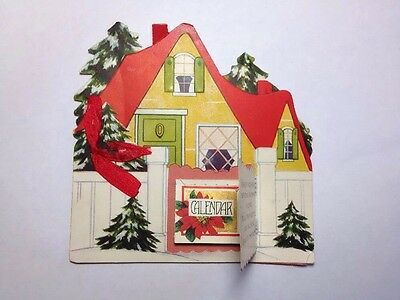 1928 Christmas Card With Tiny Us used Calendar Cottage +ribbon
