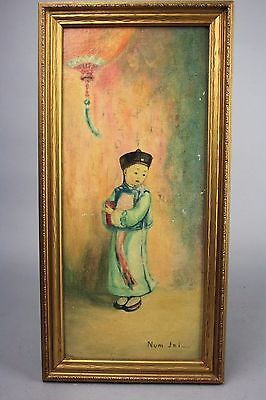 19th/20th C. Chinese Framed Boy Oil Painting