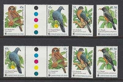 2002 CHRISTMAS ISLAND BIRDS, 2 Sets of 4, Mint Never Hinged