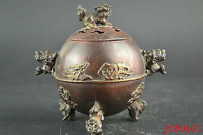Collectible China Old Copper Handmade Lion Statue Decor Noble Incense Burner