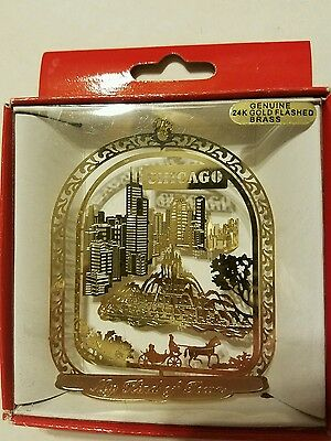"""Chicago Illinois """"My Kind of Town""""  Brass Christmas Ornament"""