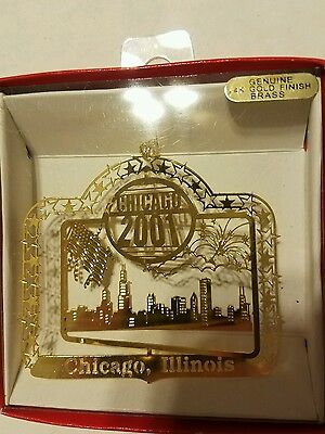 Chicago Illinois dated 2001  Brass Christmas Ornament
