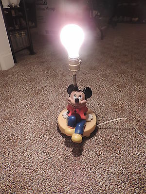 Vintage Disney Mickey Mouse Lamp With Night Light-No Shade