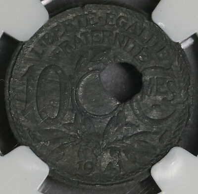 1941 NGC XF MINT ERROR FRANCE 10 centimes Off Center Hole Coin (16102716C)