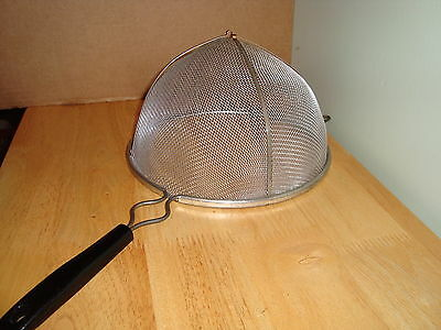 """14"""" Wire Mesh Strainer with Handle & Resting Arms Vintage  X Large"""