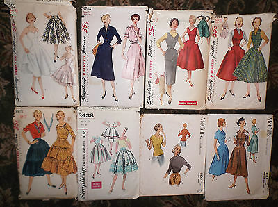 Group Lot of 8 Vintage Early 1950's Ladies Sewing Patterns