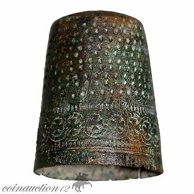 Intact Decorated Late Medieval Bronze Thimble