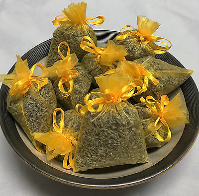 Set of 10 Lavender Sachets made with Yellow Organza Bags