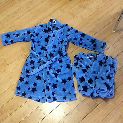 marks and Spencer age 7-8 Boys blue fleece dressing gown (2 available)