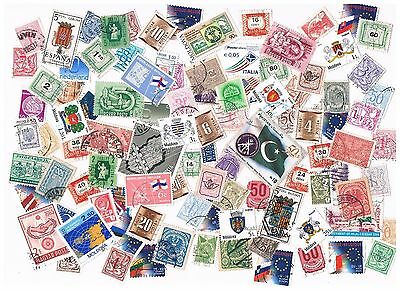 Lot of 100 worldwide stamps (symbols & flags)