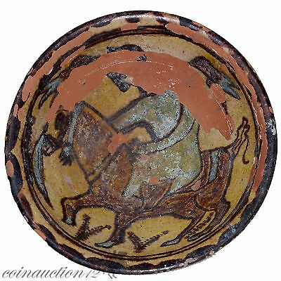 Large Size Near Eastern Terracotta Glaze Paint Bowl With Horseman Circa 900 Ad