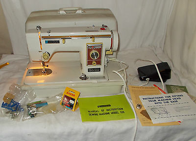 VINTAGE New Home 539 ELECTRIC SEWING Machine With EXTRAS Needs Attention