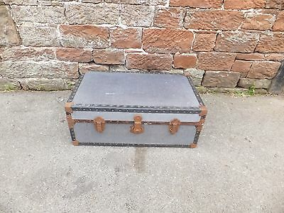 Vintage BLUE STEAMER Trunk SUITCASE Storage CHEST leather Handle PROP Decorative