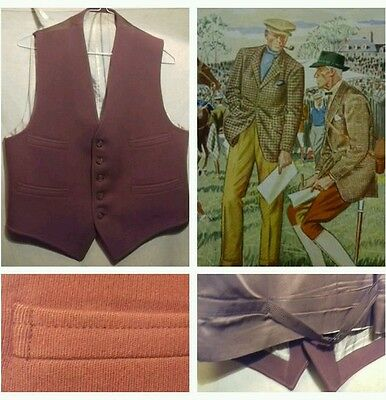 Vintage Gents RIDING/Hacking/Hunting country Waistcoat red-brown wool cav twill