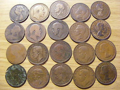 A Collection of 20 Half Penny Coins - 1861- 1967
