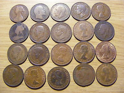 A Collection of 20 Half Penny Coins - 1861- 1967 -  nice 1861 coin