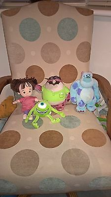 4 Different Disney Pixar Monsters Inc soft toys incl Boo