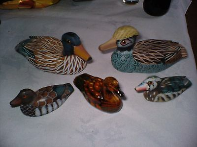 Five Lovely Studies Of Ducks Bigger Two Are Wood And Others Resin We Think.