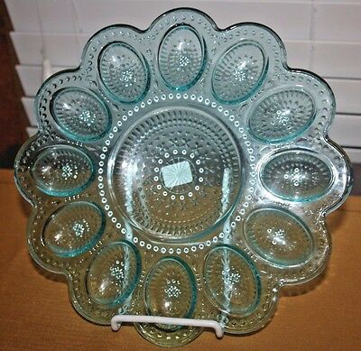 "Crate and Barrel Turquoise Blue Deviled Egg Platter-""Phoebe"", Deep Egg Wells"