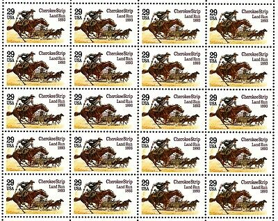 1993 - CHEROKEE STRIP - #2754 Full Mint -MNH- Sheet of 20 Postage Stamps