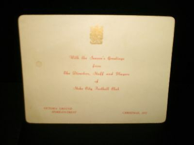 1952 XMAS CARD---STOKE CITY--from Directors,Staff, and Players---VICTORIA GROUND