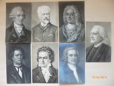 7 x repro Portrait Postcards of Composers Undated and unposted