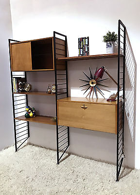 60S Amazing Mid Century Vintage Retro Staples Ladderax Wall Shelving Unit System