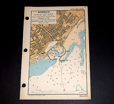 COASTAL DEFENCE of RAMSGATE, Kent - Detailed vintage WW2 Admiralty Map 1943