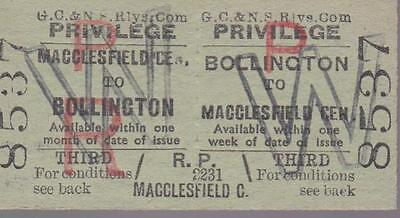 Great Central & North Staffordshire JOINT Railway Ticket BOLLINGTON 8537