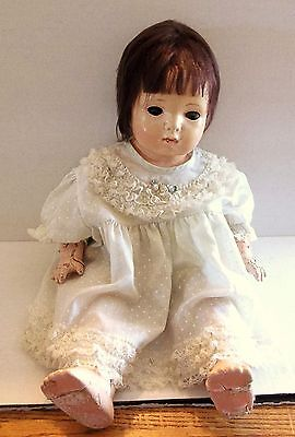 AMERICAN CHARACTER 1930s COMPOSITION & CLOTH BABY DOLL, TIN EYES