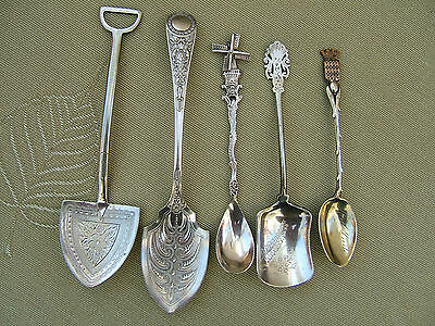 Five Collectable Preserve, Jam Or Sugar Spoons, Silver & Silver Plate