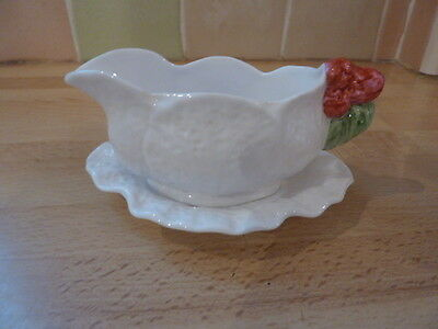 Caverswall  Fine Bone China Sauce Boat & Saucer ~ Cabbage Leaf Textured Finish
