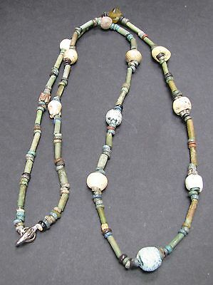 NILE  Ancient Egyptian Glass Amulet Mummy Bead Necklace ca 600 BC