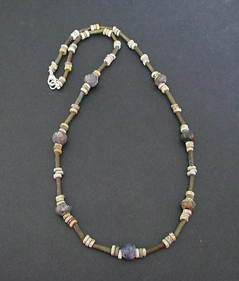 NILE  Ancient Egyptian Mosaic and Mummy Bead Necklace ca 600 BC