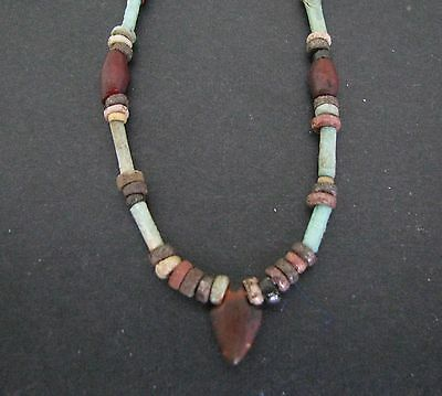 NILE  Ancient Egyptian Stone Heart Amulet Mummy Bead Necklace ca 1000 BC