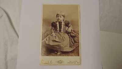 cabinet photo antique Cobb studio N.Y. darling child infant in stripped dress