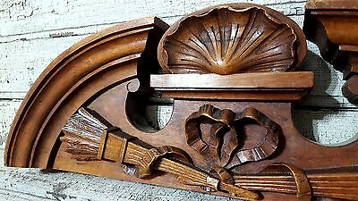 21.73 in SOLID BOW PEDIMENT 19 th ANTIQUE FRENCH HAND CARVED WOOD PANEL
