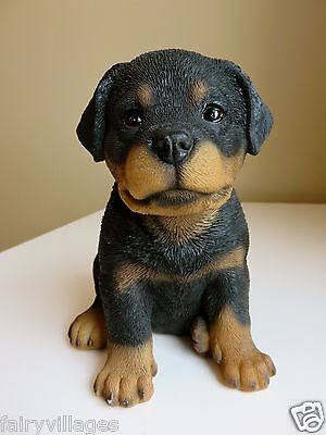 Rottweiler Puppy Dog Statue Figurine Canine Home Decor Pet 6.5In. Resin