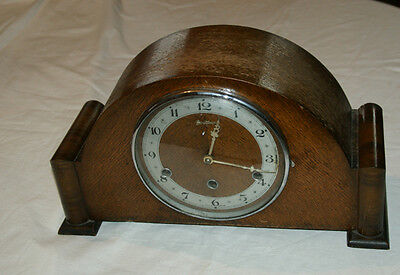 Vintage BENTIMA Oak Cased Mantel Clock With WESTMINSTER Chimes