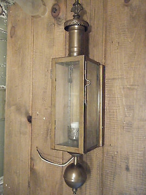Brass Light Fixture Sconce Antique Patina chimney 17th century Candle Lantern