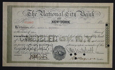 National City Bank 1929 Capital Stock Certificate