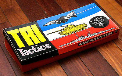 Complete 1960s TRI-TACTICS Vintage Board Game Early Edition 112 Pieces & Stands