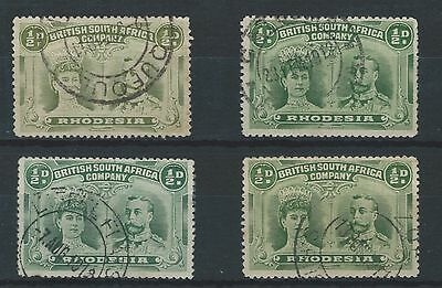 BSAC Rhodesia Double Heads 4 shades of ½d green fine used