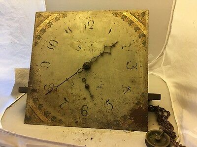 """Early 19c Antique 30 Hour Longcase Grandfather Clock Movement 12"""" Dial"""