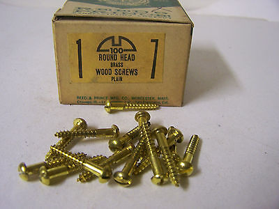 "#7 x 1"" Round Head Brass Wood Screws Solid Brass Slotted Made in USA Qty. 100"